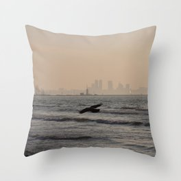 Dark Wings of the City Throw Pillow