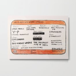 Life Crisis in a Train Ticket Metal Print