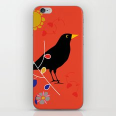 Black Bird orange iPhone Skin