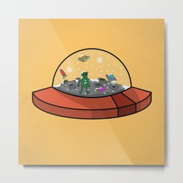 alien snow globe Metal Print