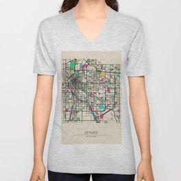 Colorful City Maps: Denver, Colorado Unisex V-Neck