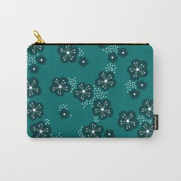 Hello spring Japanese cherry blossom love teal Carry-All Pouch
