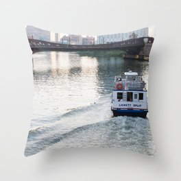 Evening on the Chicago River Throw Pillow