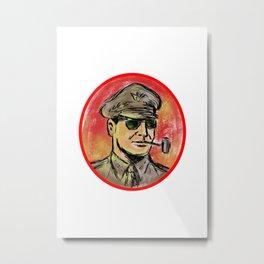 World War II General Corn Cob Pipe Watercolor Metal Print