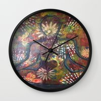 namaste Wall Clocks featuring Namaste by Tiffany Alcide