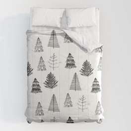 Trees Pattern Black and White Comforters