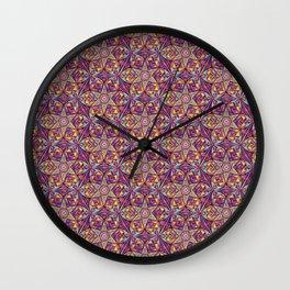Kaleidoscope Purple-Yellow Pattern Wall Clock