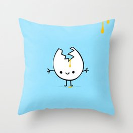 mr egg blue Throw Pillow