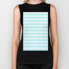 Narrow Horizontal Stripes - White and Celeste Cyan Biker Tank
