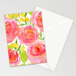 Pink Peonies - Watercolor Floral Print Stationery Cards