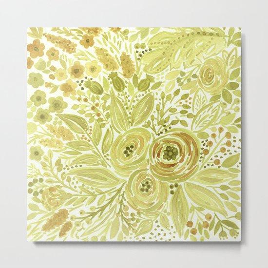 Watercolor . Yellow green bouquet . Metal Print