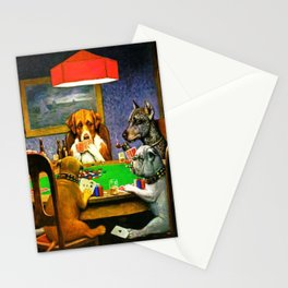Dogs Playing Poker, by Cassius Marcellus Coolidge - Vintage Painting Stationery Cards