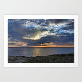 Sunsetting on Widemouth Bay Art Print