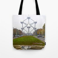 brussels Tote Bags featuring Atomium Brussels Painted Photography by Premium
