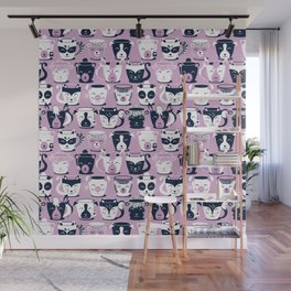 Cuddly Tea Time // white navy & light orchid pink animal mugs Wall Mural
