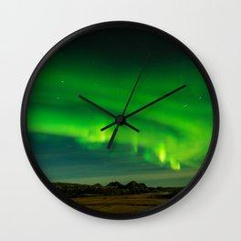 Beautiful Green Iceland northern lights Wall Clock