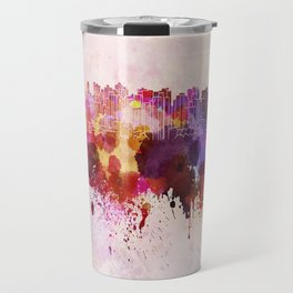 Curitiba skyline in watercolor background Travel Mug