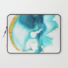 Touch - and abstract india ink and acrylic pattern in blue and gold Laptop Sleeve