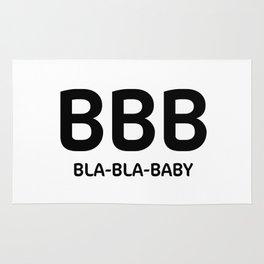 "White typography pattern ""Bla Bla Baby"" Rug"