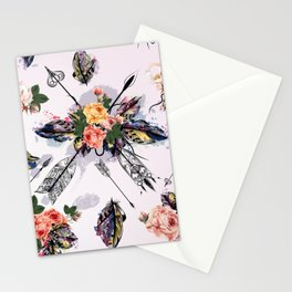 Be wild. Boho watercolor feathers. Fashion Stationery Cards