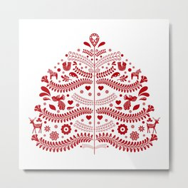Red Scandinavian Folk Art Christmas Tree Metal Print