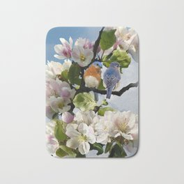 Bluebirds and Apple Blossoms Bath Mat