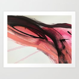 Entangled: a vibrant, colorful, abstract mixed-media piece in pinks and reds Art Print