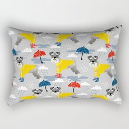 Schnauzer spring raincoat cute pattern for dog lover with schnauzers Rectangular Pillow