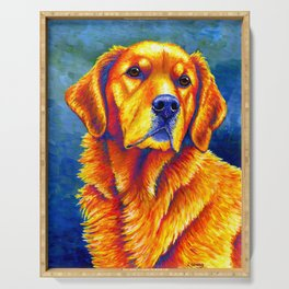 Colorful Golden Retriever Dog Portrait Serving Tray