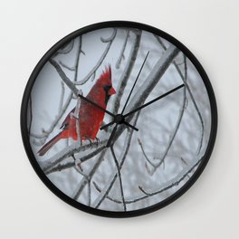 Redbird on Icy Tree Branch Wall Clock