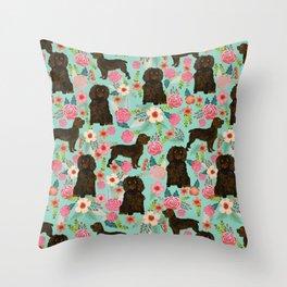 Boykin Spaniel custom dog breed floral pattern print by pet friendly dog art pet portraits Throw Pillow
