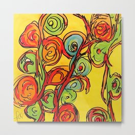 Round flowers, yellow fun Metal Print