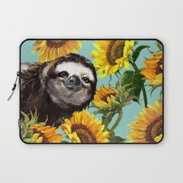 Sloth with Sunflowers Laptop Sleeve