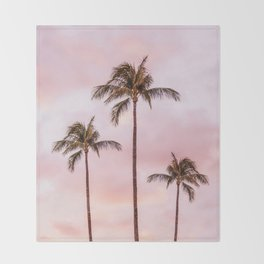 Palm Tree Photography | Landscape | Sunset Unicorn Clouds | Blush Millennial Pink Throw Blanket