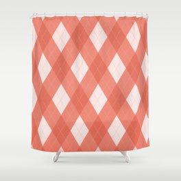 Pantone Living Coral Argyle Plaid, Diamond Pattern Shower Curtain