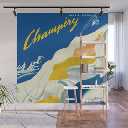 Vintage Champery Switzerland Travel Wall Mural