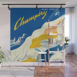 Vintage Champery Switzerland Travel Wall Mural