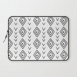 mudcloth 9 minimal textured black and white pattern home decor minimalist beach Laptop Sleeve