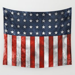 American Flag Stars and Stripes Distressed Grunge 4th. July Wall Tapestry