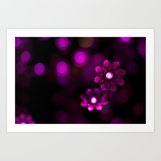 Electric Flowers (Purple) Art Print