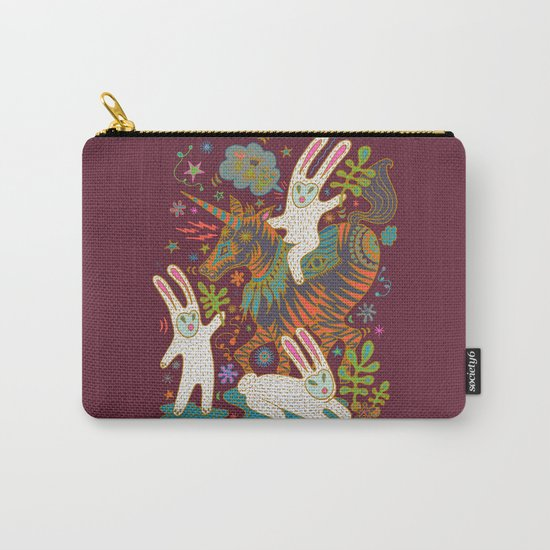 Three Rabbits and a Unicorn Carry-All Pouch