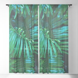 Green Palm Leaves Sheer Curtain