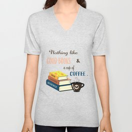 Good Books and Coffee Unisex V-Neck