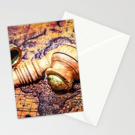 Vintage Wooden Pipe And A Looking Glass On An Old Map Stationery Cards