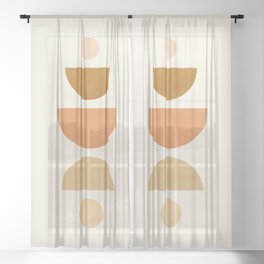 Abstraction_Geometric_Shape_Moon_Sun_Minimalism_001D Sheer Curtain