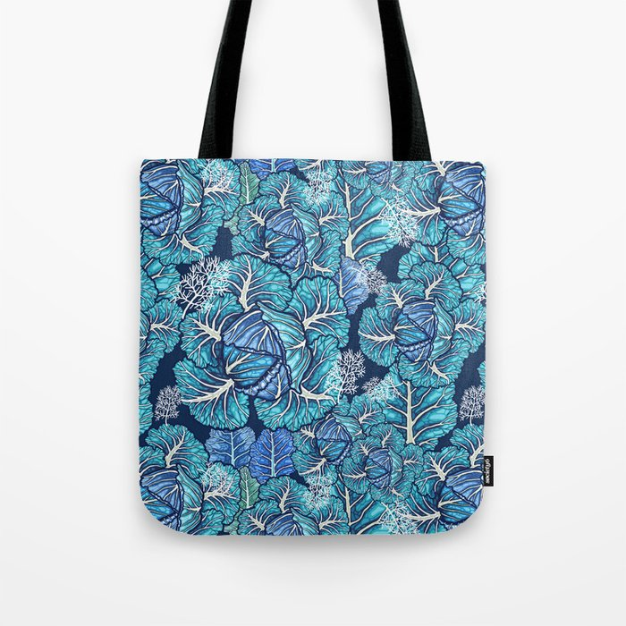 blue winter cabbage Tote Bag