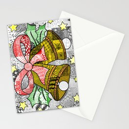 Coloured Christmas Bells Stationery Cards