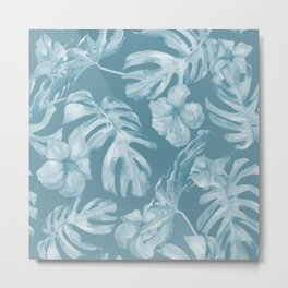 Tropical Escape Teal Blue Leaves + Hibiscus Metal Print