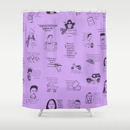 Gilmore Girls Quotes in Purple Shower Curtain