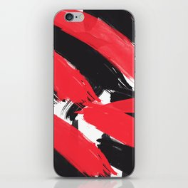 Modern Abstract Black Red Brush Strokes Pattern iPhone Skin